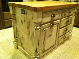 before and after shots of distressed pine kitchen island project