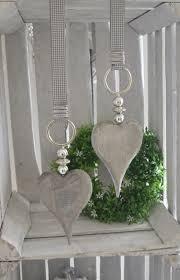 Fensterschmuck Fensterdeko Holzherz Mit Perlen In Silber