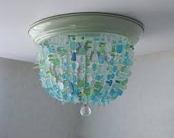 beach ceiling light sea glass chandelier flush mount coastal decor beach glass ceiling fixture on beach