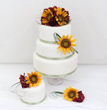 7 Cakes With Silk Sunflowers Photo Red And Sunflower Wedding Cake