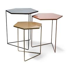 geometric nested metal tables set of 3 black copper gold woodrow metal nesting tables