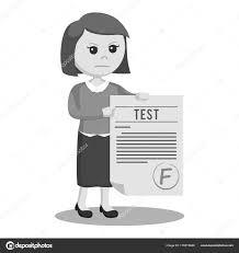 Woman Teacher Grade Test Schwarz Weiß Stil Stockvektor