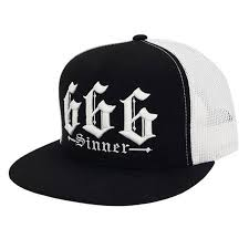 Red Devil Clothing 666 Black Trucker Flat Bill Snapback Hat | Vixens and Angels