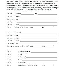 I Am Poems I Am Poem Template For High School Full Size Of Am Poem Worksheet