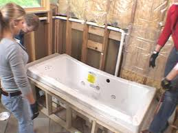set tub in place