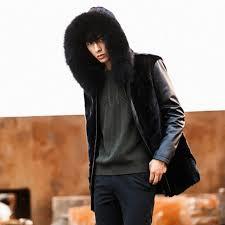mens winter fur jacket fur collar splice leather jacket men black faux fur coat men winter hooded er
