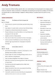 cv for a waitress