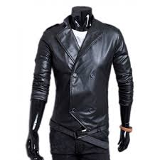 leisure style doubleted mandarin collar mens leather jacket