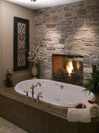18 master bathrooms with fireplaces pictures stacked stones rustic feel and stone fireplaces