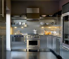kitchen with stainless steel shelves