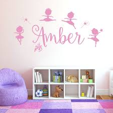 personalised name girls wall art sticker disney baby ballerina little princess ballet shoes
