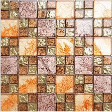 yellow glass mosaic tile plated glass hand painted art design wall tile hall backsplashes kitchen bathroom decorative klgtj03