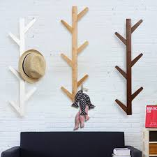 6 Hook Wall Coat Rack 100 Hooks Vintage Bamboo Wooden Hanging Coat Hook Hanger Branch Shape 39