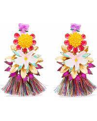 Chanel Synthetic Gold-tone & <b>Acrylic Cc Earrings</b> in Metallic - Lyst