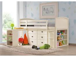 junior loft bed for childrens boys bedroom and desk feature underneath also white platform frame and blue paint color with water wall decals plus open