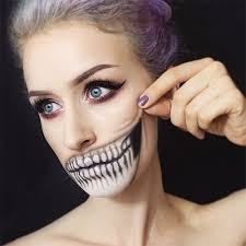 y mouth teeth half face makeup for s women 2017