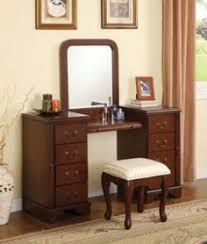 Cherry Louis Philippe 3 Pc Make Up Table Bench Mirror 8 Drawers Large Vanity  Set