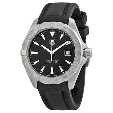tag heuer watches jomashop tag heuer aquaracer black dial black rubber men s watch