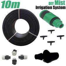 micro garden water system mist irrigation automatic watering kits misting water sprinkler 10m hose 10pcs sprayer 10pcs tee joint
