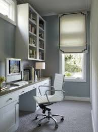 narrow office desk. long and narrow office with blue grasscloth wallpaper framing white desk s