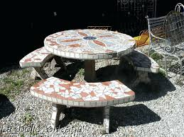 concrete round table and benches outdoor breathtaking gray rectangle