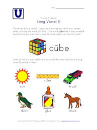 One syllable words with a identifying letter aa grade/level: Long Vowel U Sounds Worksheet All Kids Network