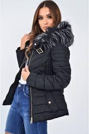 black faux fur hood gold detail puffer coat rylah