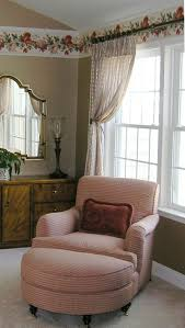 Bedroom. Retro Pink Fabric Upholstered Armchair With Half Moon ...