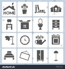 Icon For Interior Design Home Icons Furniture Interior Design Icon Stock Vector