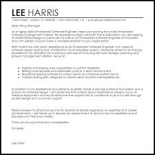 Cover Letter For Experienced Software Engineer Embedded Software Engineer Cover Letter Sample Cover Letter