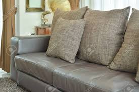 leather sofa texture.  Leather Brown Texture Pillows On Deep Brown Leather Sofa In The Living Room Stock  Photo  61075283 To Leather Sofa Texture T