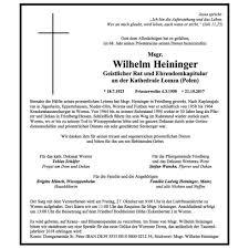 Trauer Um Geistlichen Rat Msgr Wilhelm Heininger Dekanat Wetterau West