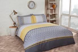rapport barbican geometric ochre yellow grey duvet cover bedding set