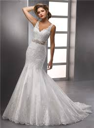 trumpet mermaid straps v neck beaded lace wedding dress with