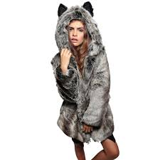 women winter warm faux fur coat hooded cat