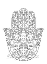 Small Picture Hand Drawn Adult Coloring Page Print Hamsa Tree of Life