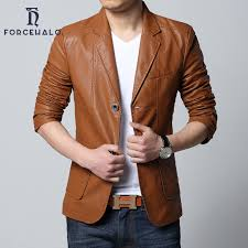 mens leather jacket casual slim blazer men spring fit blazer suit men