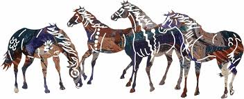 painted ponies 4 horse herd metal wall art by neil rose 11 1 2 h x 29 w in lazart fusion only