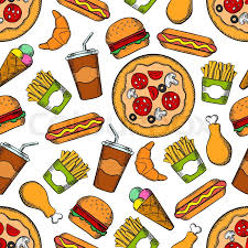 hamburger and fries wallpaper. Delighful Hamburger Wallpaper With Vector Pattern Of Snacks Drinks And Desserts Hamburger  Pizza Hot Dog Ice Cream Chicken Leg Burger Croissant Fries For Hamburger And Fries W