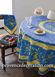 french round tablecloth coated cicada blue