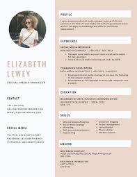 Pink Feminine Social Media Manager Resume Resume Pinterest Cool Social Media Manager Resume