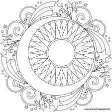 Small Picture Sun moon and stars mandala coloring pages for grown ups art