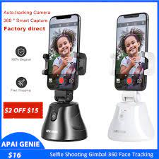 Akıllı izleme tutucu, 360 ° dönme otomatik yüz/nesne izleme tutucu  Video/Vlog, çekim robotu kameraman Selfie Sticks