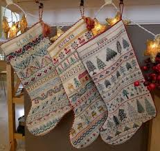 Cross Stitch Stocking Patterns Impressive Palace Of Leaves Three Crossstitched Christmas Stockings DIY