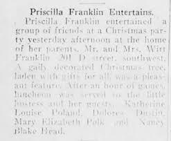 Priscilla Franklin - The Daily Ardmoreite (Ardmore, OK) - 25 Dec 1918 -  page 8 - Newspapers.com