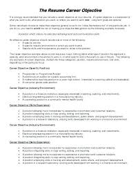 Career Objective Resume Sample Career Objective Resume Professional Objective In Resume