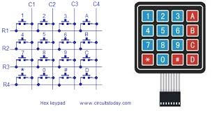 interfacing hex keypad to arduino full circuit diagram theory and hex keypad photo