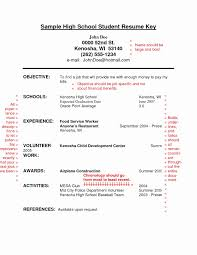 Resume Format For High School Students Lovely Examples Objective For