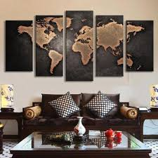 >panel art multi panel wall art on canvas bigwallprints  world map in black and brown 5 piece panel art bigwallprints