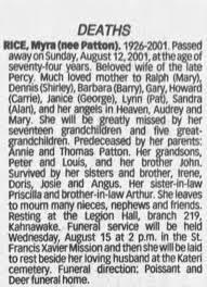 Obituary for Myra RICE - Newspapers.com